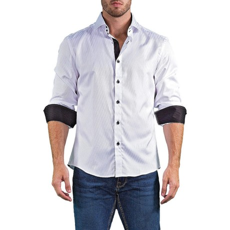 Logan Long-Sleeve Button-Up Shirt // White (XS)