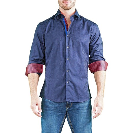 Long-Sleeve Button-Up Shirt // Navy (XS)