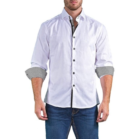 Long-Sleeve Diamond Contrast Trim Button-Up Shirt // White (XS)