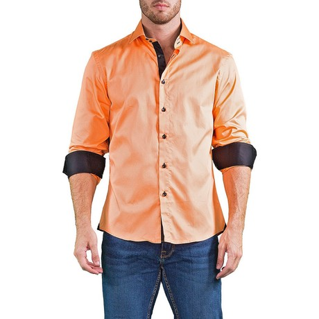 Geraint Long-Sleeve Button-Up Shirt // Orange (M)