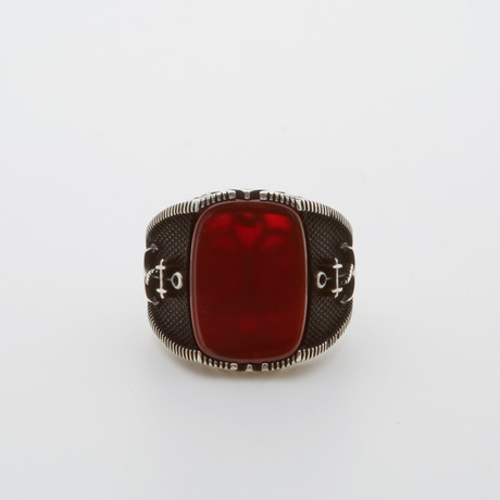 Nautical Red Agate Ring (Size 8.5)