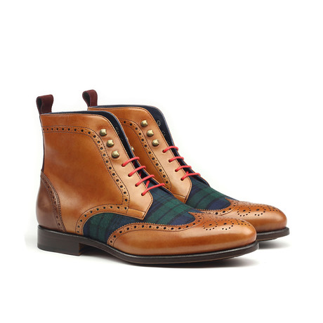 Military Brogue Boot // Tan + Plaid