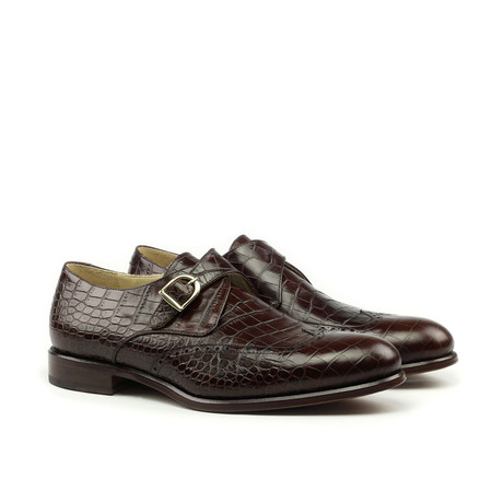 Croc Single Monkstrap // Brown