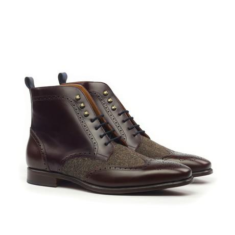 Military Brogue Herringbone Boot // Brown