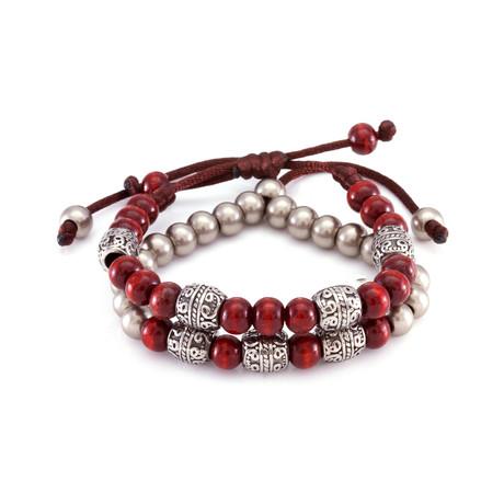 The Red Steel Band Bracelet // Vintage Silver + Red