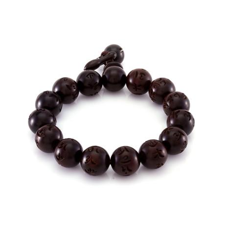 The Round Chinese Wood Bead Band // Dark Brown