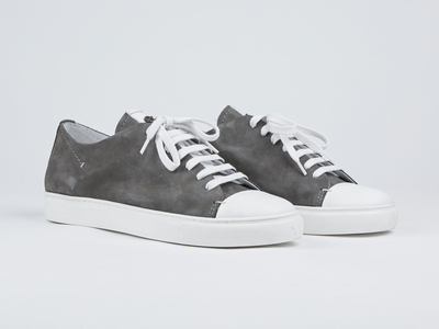 Photo of Kjore Project Handcrafted Leather + Canvas Sneakers Limited Edition Cap-Toe Shoes // Grey + White (Euro: 40) by Touch Of Modern