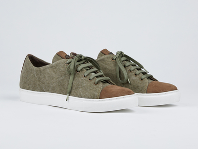 Photo of Kjore Project Handcrafted Leather + Canvas Sneakers Limited Edition Cap-Toe Shoes // Green + Brown (Euro: 40) by Touch Of Modern