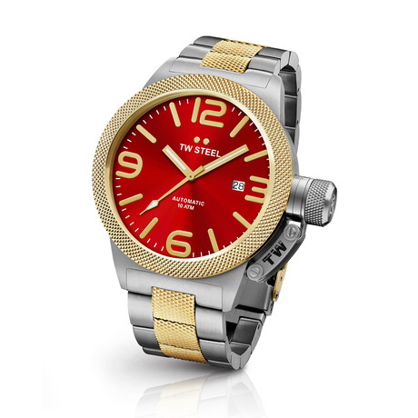 TW Steel Canteen Date Automatic // Stainless Steel + Red