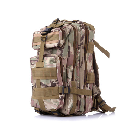 Tactical Nylon Military Backpack // Brown Camo