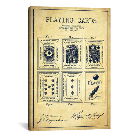 Hammatt Billings Playing Cards Patent Sketch