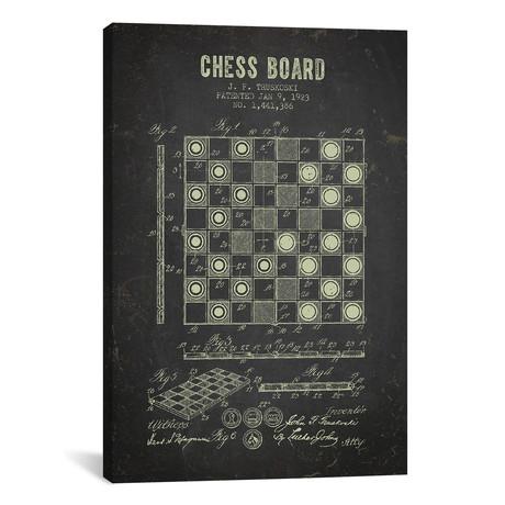 """J.F. Truskoski Chess Board Patent Sketch (Charcoal) // Aged Pixel (12""""W x 18""""H x 0.75""""D)"""