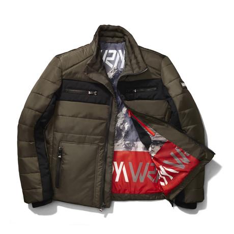 Snocross Biker Jacket // Camo Green (S)