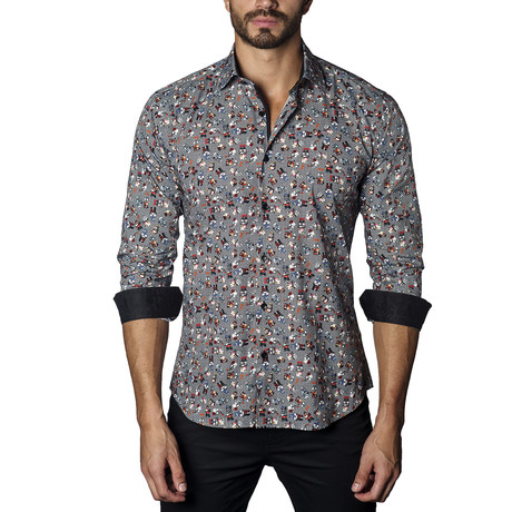 Skull Print Long Sleeve Shirt // Black