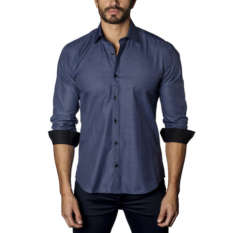 Micro Check Long Sleeve Shirt // Blue + Black