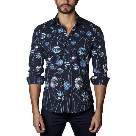 Floral Long Sleeve Shirt // Navy
