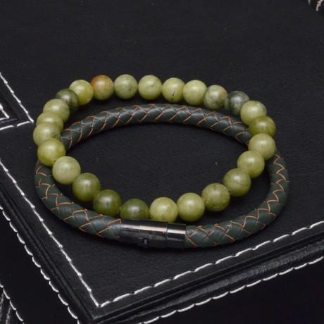 Jade + Leather Bracelet Set // 2 Pack