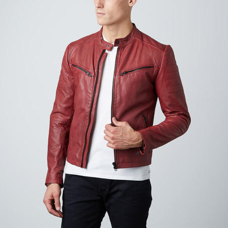 Classic Zip Leather Jacket // Oxblood Red (S)