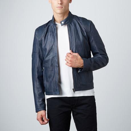 Classic Biker Jacket // Blue (S)