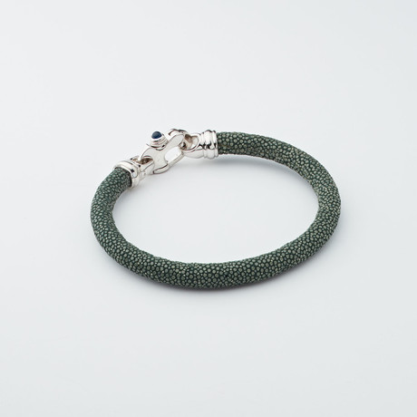 Stingray Bracelet // Deep Green + Silver