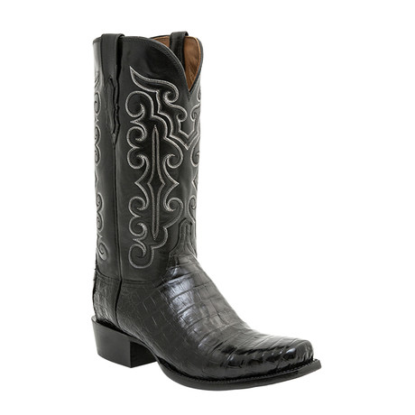 Ultra Belly Caiman Crocodile Embroidered Western Boot // Black (US: 10)