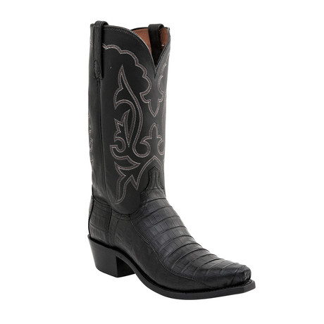 Ultra Belly Caiman Crocodile Western Boot // Black (US: 9)