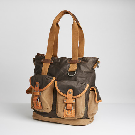 Tapa Two Tone Canvas Tote // Brown