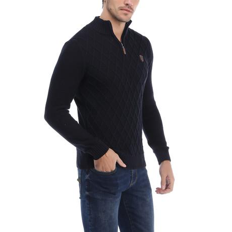 Argyle Zip Pullover // Navy