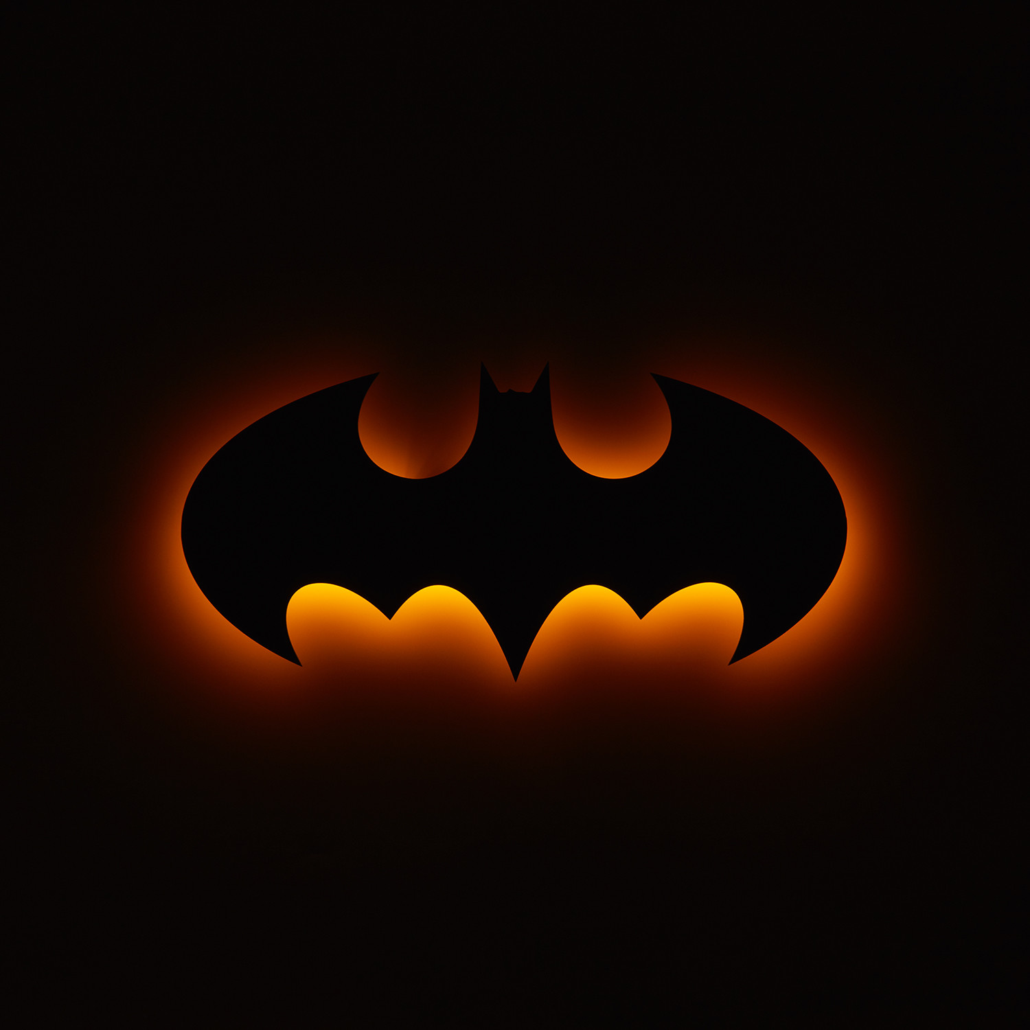 "batman logo // floating metal wall art // led backlit (30""w x 15""h x"