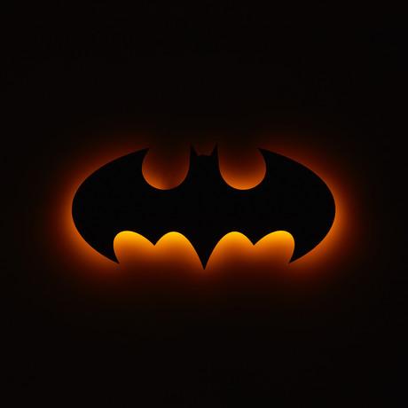 "Batman Logo // Floating Metal Wall Art // LED Backlit (20""W x 10""H x 1""D)"