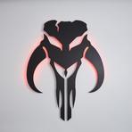 "Star Wars Mandalorian // Floating Metal Wall Art // LED Backlit (15.5""W x 20""H x 1""D)"