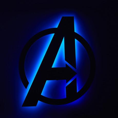 Avengers Logo // Floating Metal Wall Art // LED Backlit