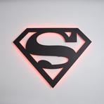 "Superman // Floating Metal Wall Art // LED Backlit (20""W x 15""H x 1""D)"