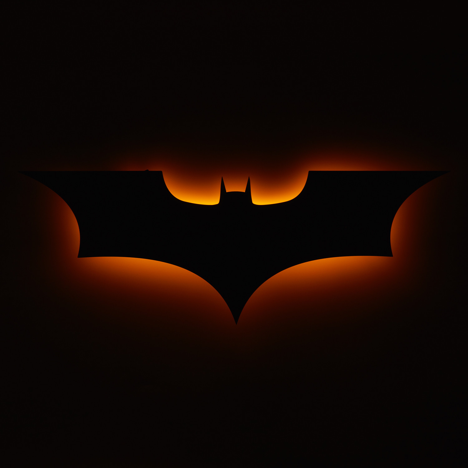 Dark Knight Logo Yellow Floating Metal Wall Art Led Backlit