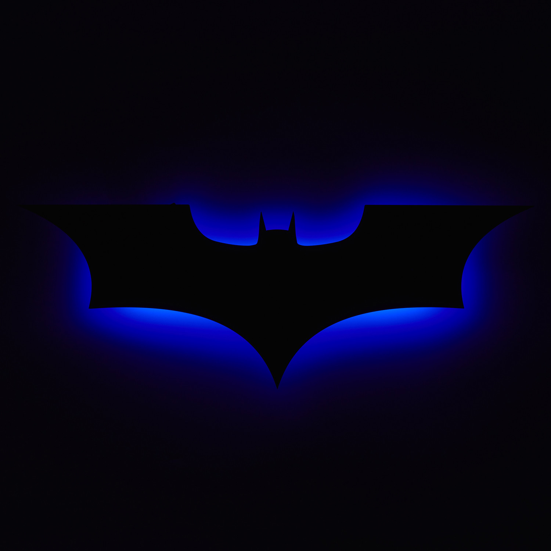 Dark Knight Logo Blue Floating Metal Wall Art Led Backlit