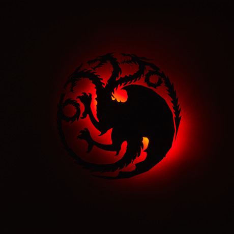 Targaryen Sigil // Floating Metal Wall Art // LED Backlit