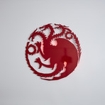"Targaryen Sigil // Floating Metal Wall Art // LED Backlit (16""W x 16""H x 1""D)"