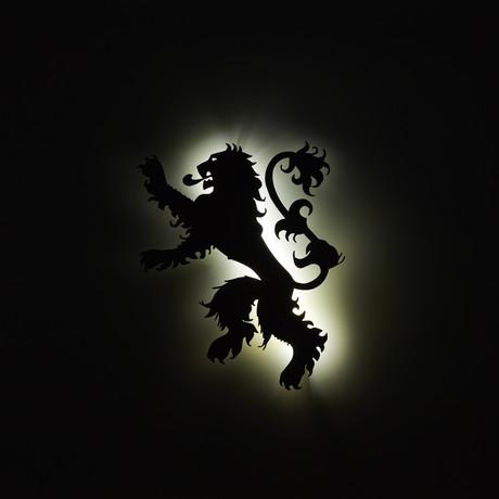 """Lannister Sigil // Floating Metal Wall Art // LED Backlit (16""""W x 13""""H x 1""""D)"""