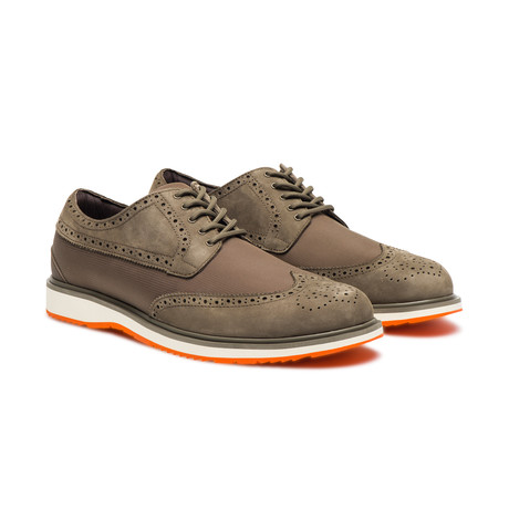 Barry Brogue Low // Taupe + Orange
