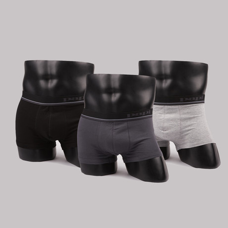 Solid Brazilian Trunks // Heather Grey + Ebony + Black // Pack of 3