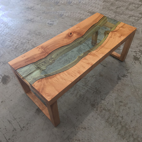 River Series Coffee Table // Big Leaf Maple + Light Green Glass