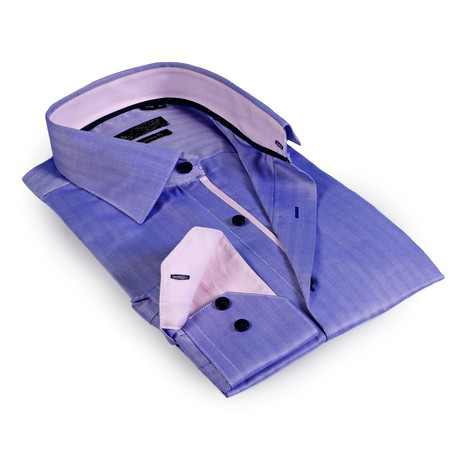 Solid Collar Herringbone Button-Up Shirt // Blue + Light Purple