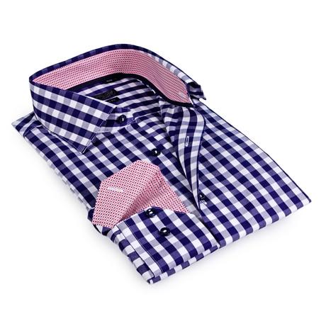 Textured Collar Gingham Button-Up Shirt // Navy + White