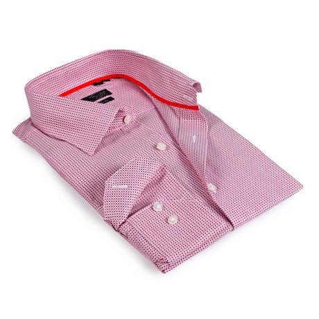 Textured Collar Button-Up Shirt // Red