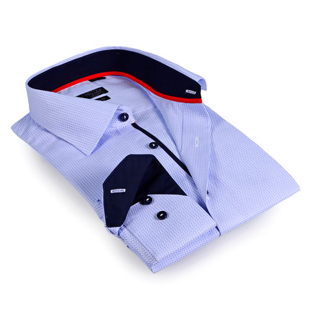 Solid Collar Button-Up Shirt // Light Blue (L)