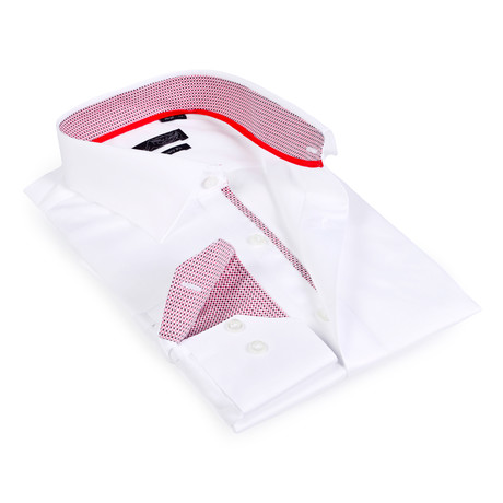 Textured Collar Solid Button-Up Shirt // White + Red (S)