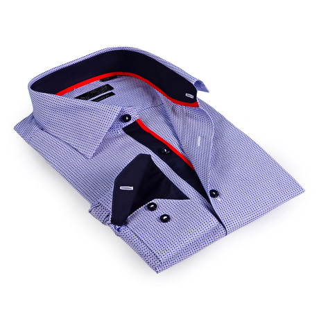 Solid Collar Button-Up Shirt // Navy (S)
