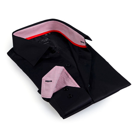 Textured Collar Solid Button-Up Shirt // Black + Red (S)