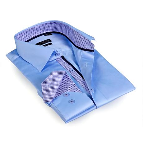 Textured Collar Solid Button-Up Shirt // Light Blue