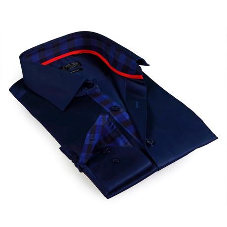 Gingham Plaid Collar Button-Up Shirt // Navy